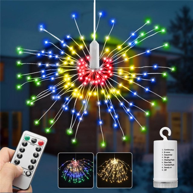 Christmas Wedding Decor Battery Supply 8 Modes 240 Led Hanging Firework Fairy Wire String Light Christmas Wedding Decor Lamp