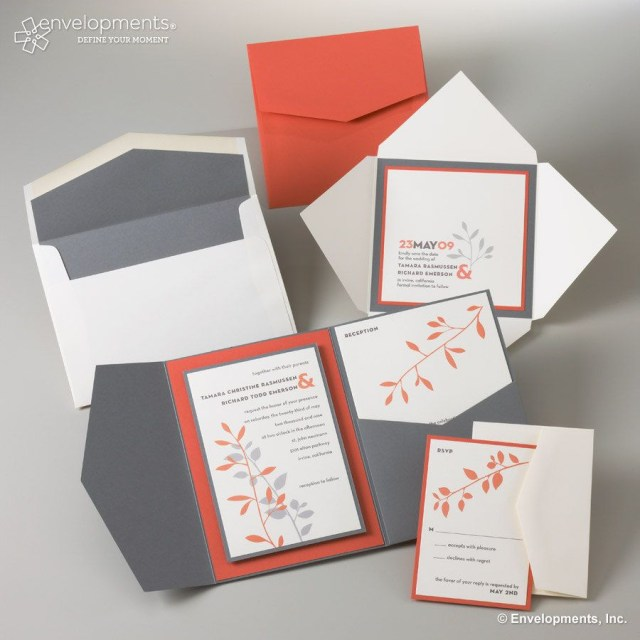 Coral And Grey Wedding Invitations Contemporary Grey And Coral Leaf Custom Wedding Invitations