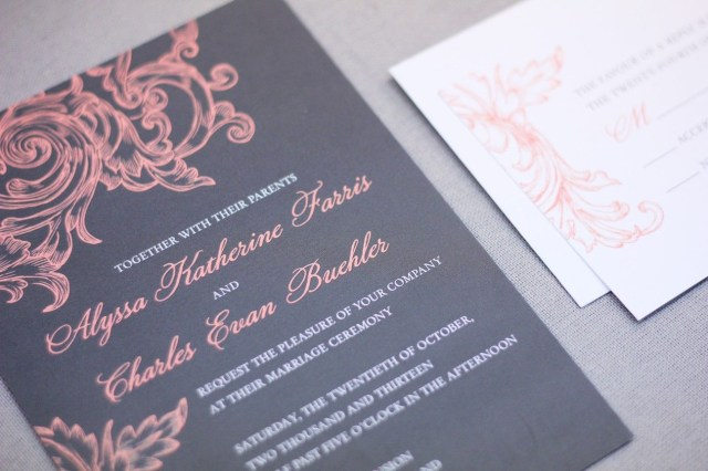 Coral And Grey Wedding Invitations Coral And Grey Wedding Invitations Coral Grey Wedding
