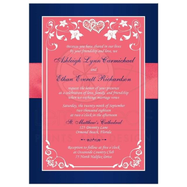 Coral And Grey Wedding Invitations Coral Colored Beach Wedding Invitations New Coral Pink And Navy