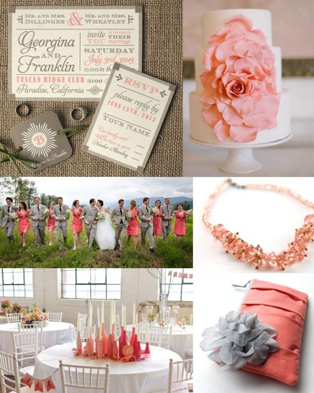 Coral And Grey Wedding Invitations Coral Sofia Invitations Blog