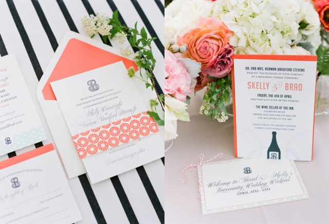 Coral And Grey Wedding Invitations Coral Wedding Invitation With Mint Green And Navy Accents