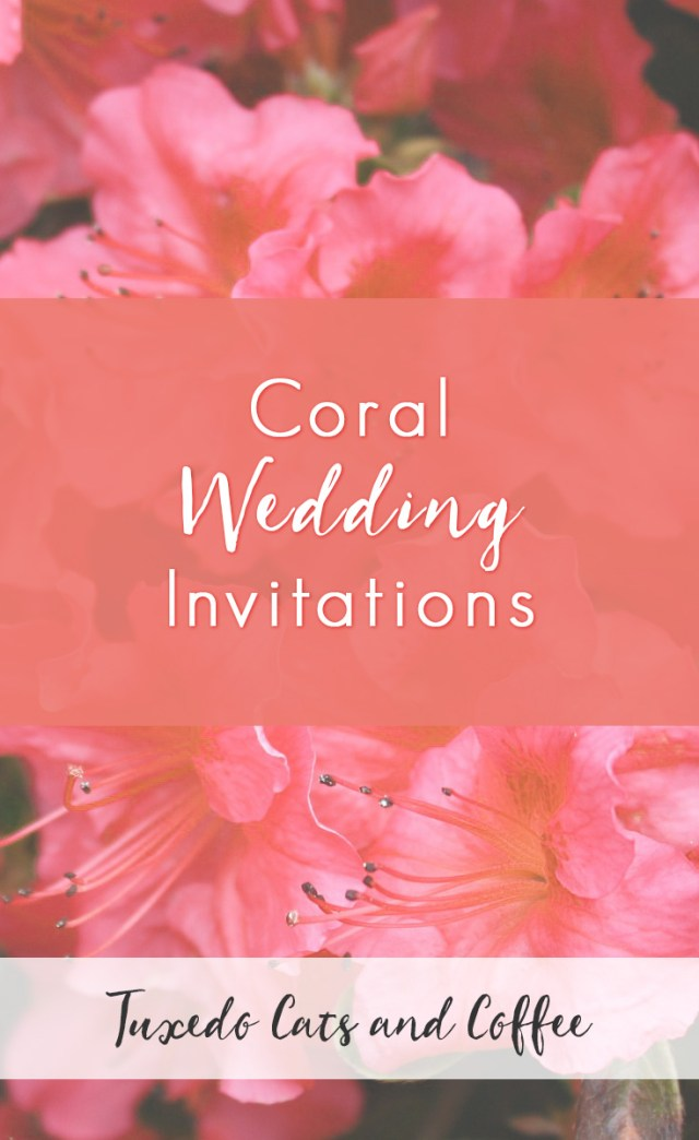 Coral And Grey Wedding Invitations Coral Wedding Invitations Tuxedo Cats And Coffee