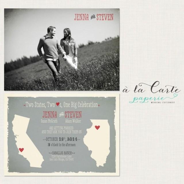 Coral And Grey Wedding Invitations Destination Wedding Invitation Two States Two Hearts One Big