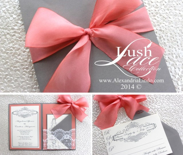 Coral And Grey Wedding Invitations Grey Coral Lace Wedding Invitation Alexandrialindo On Etsy