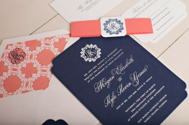 Coral And Grey Wedding Invitations Monogrammed Wedding Invitations Nico And Lala
