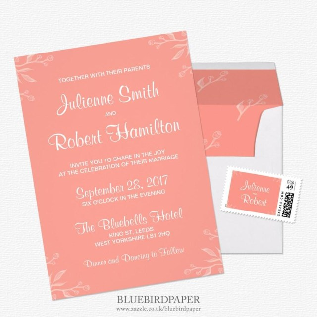 Coral And Grey Wedding Invitations Simple And Elegant Coral Pink Wedding Invitations 2460271 Weddbook