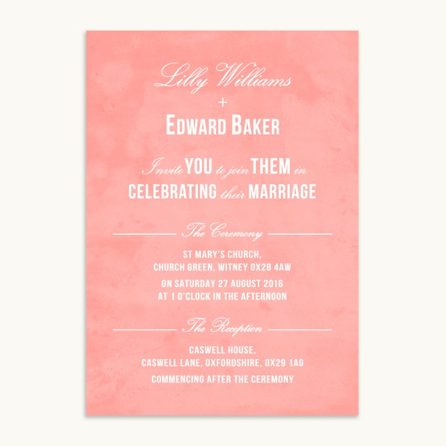 Coral And Grey Wedding Invitations Traditional Wedding Invitation Coral Paperpair
