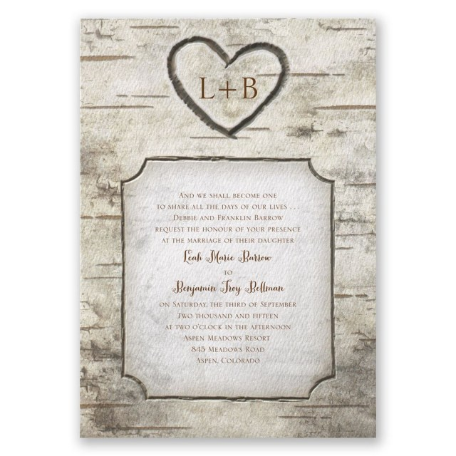 Country Chic Wedding Invitations Birch Tree Carvings Invitation Invitations Dawn