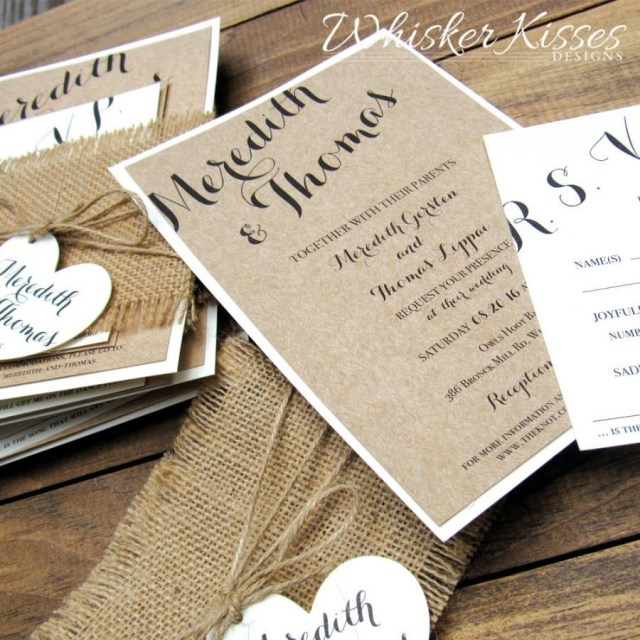 Country Chic Wedding Invitations Rustic Wedding Invitation Burlap Twine Country Barn Kraft