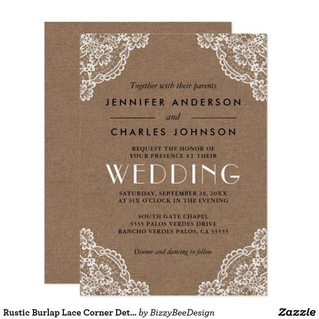 Country Themed Wedding Invitations Rustic Burlap Lace Corner Detail Wedding Invitation In 2018