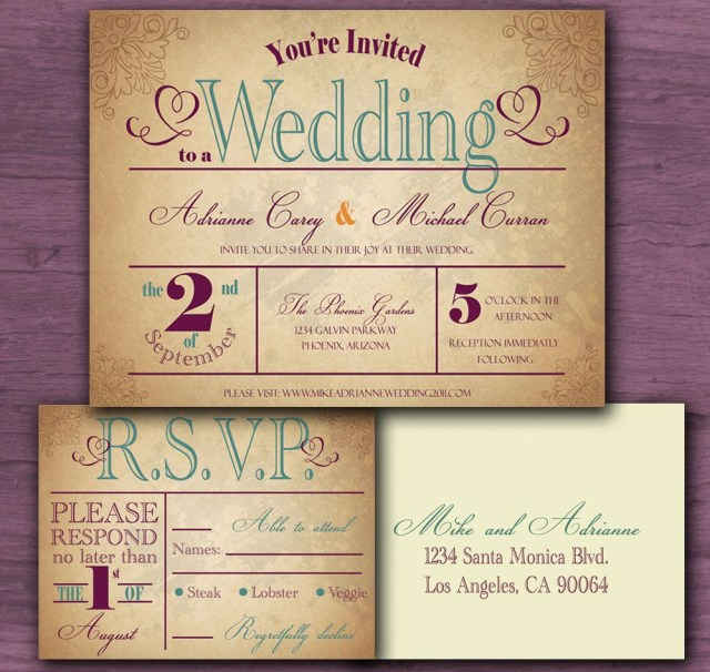 Country Wedding Invitation Wording Vintage Wedding Invitation Sample Set Free Shipping 300 Via Etsy