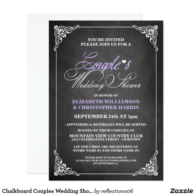 Couples Wedding Shower Invitations Chalkboard Couples Wedding Shower Invitations Couples Wedding