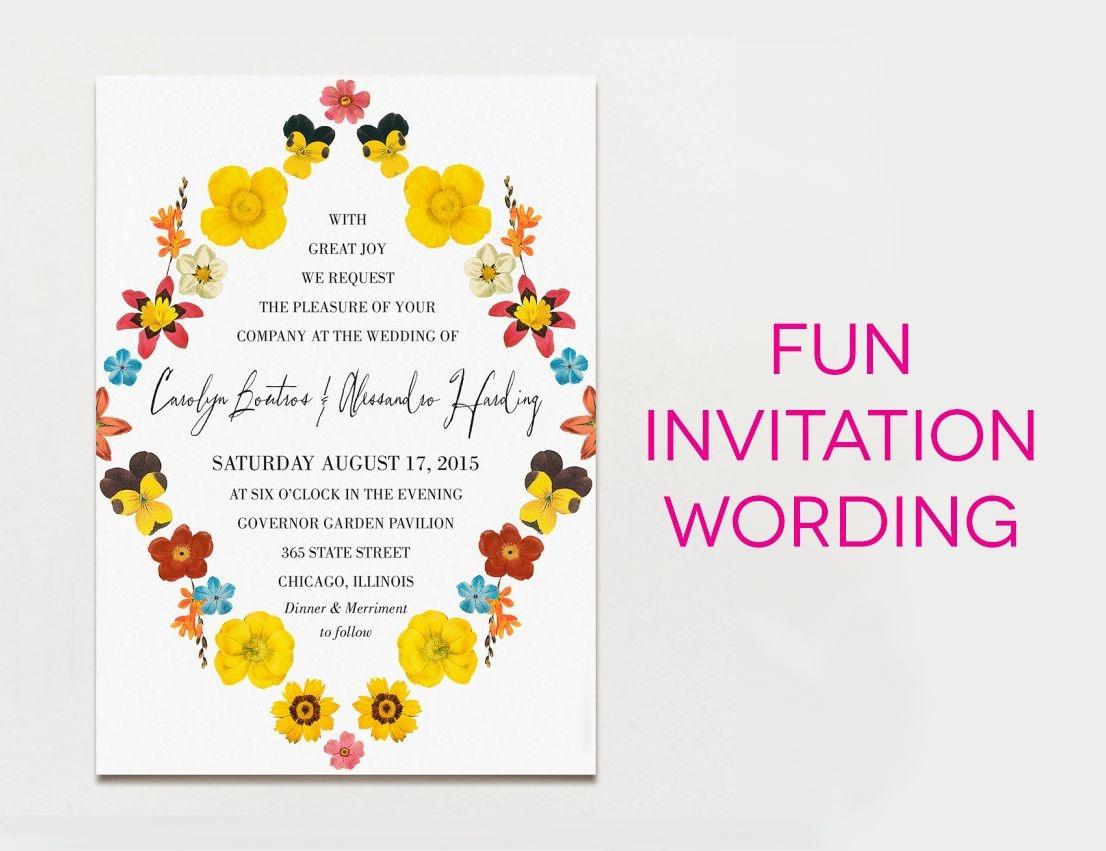 Creative Wedding Invitation Wording Unusual Wedding Invitation Wording