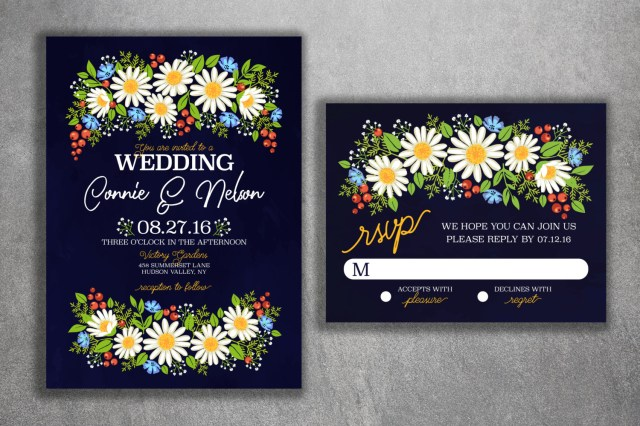 Daisy Wedding Invitations Daisy Wedding Invitation Wild Flower Wedding Invitations Wedding