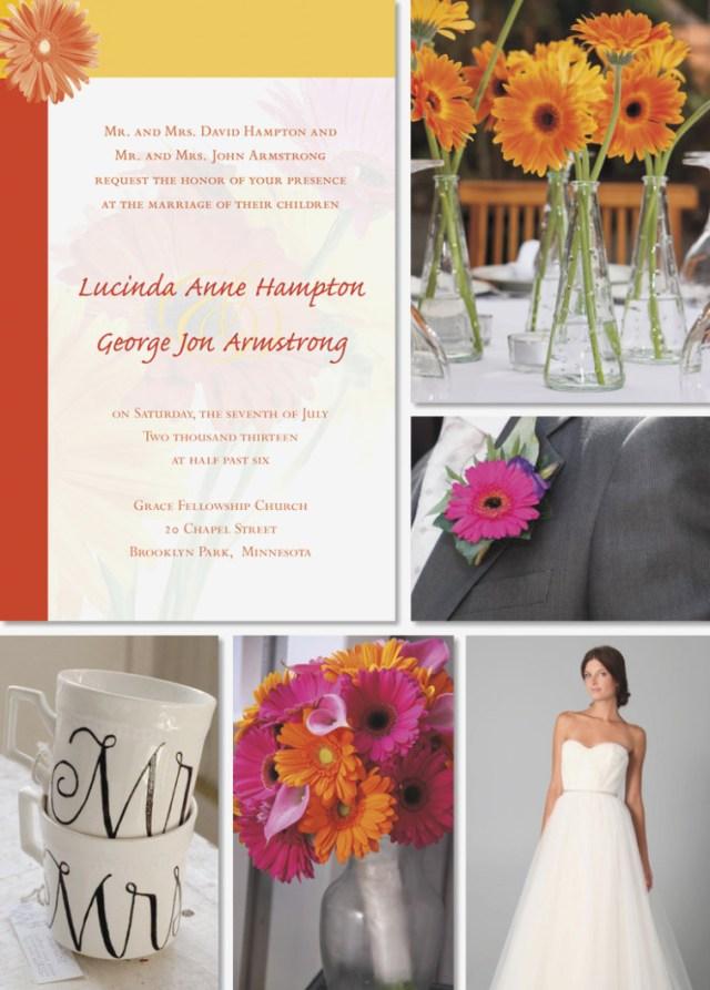 Daisy Wedding Invitations Simple Wedding Idea Gerbera Daisies Gerber Daisy Wedding