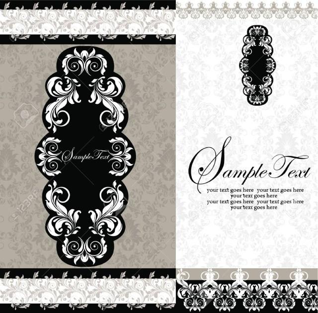 Damask Wedding Invitations Black And White Damask Wedding Invitations Royalty Free Cliparts