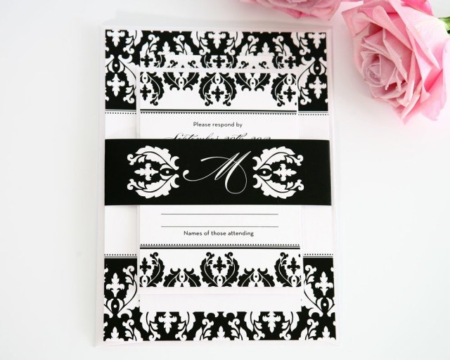 Damask Wedding Invitations Black And White Damask Wedding Invitations Wedding Invitations