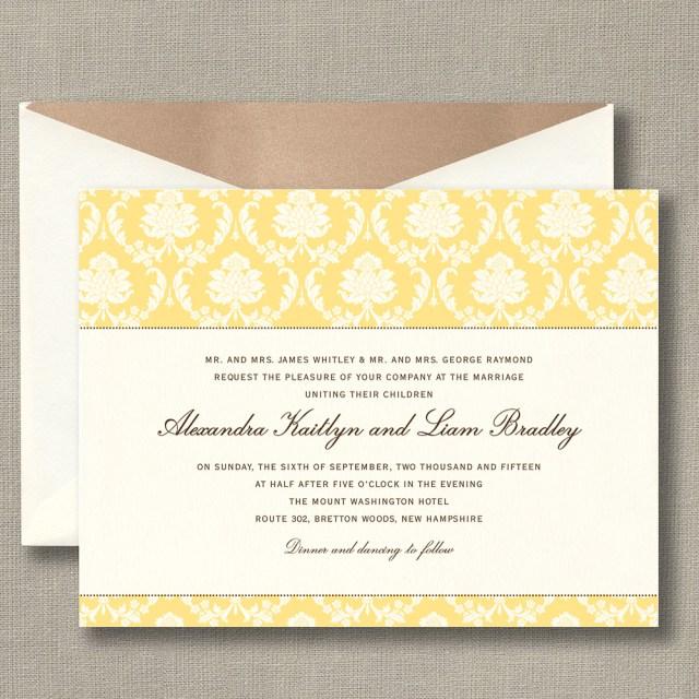Damask Wedding Invitations Buttercup Yellow Damask Wedding Invitation Custom