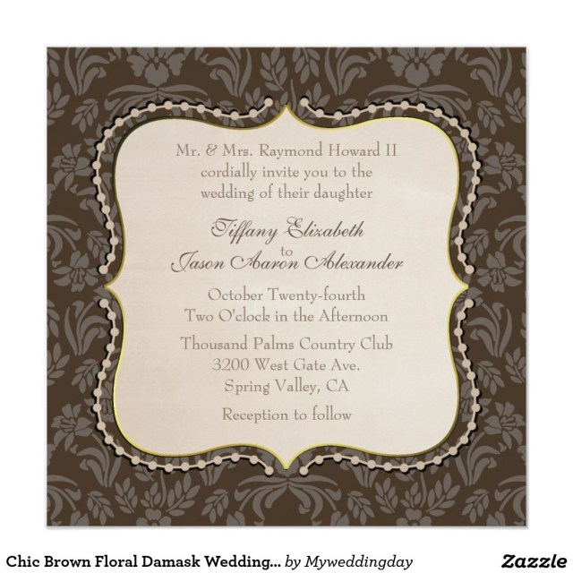 Damask Wedding Invitations Chic Brown Floral Damask Wedding Invitation Wedding Invitations