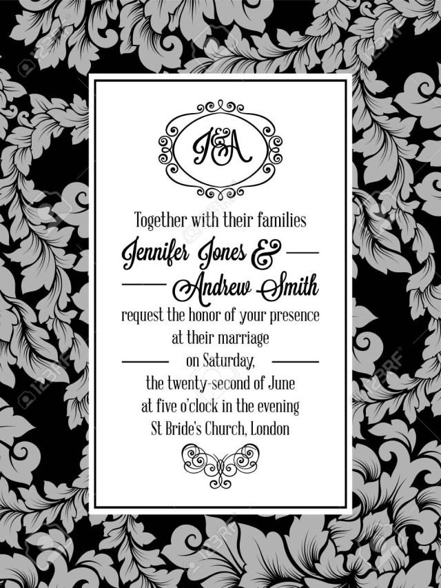 Damask Wedding Invitations Damask Pattern Design For Wedding Invitation In Black And White