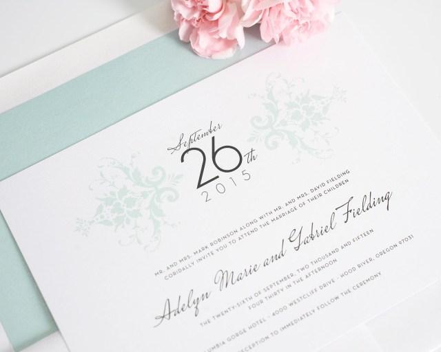 Damask Wedding Invitations Elegant Damask Wedding Invitations In Mint Wedding Invitations