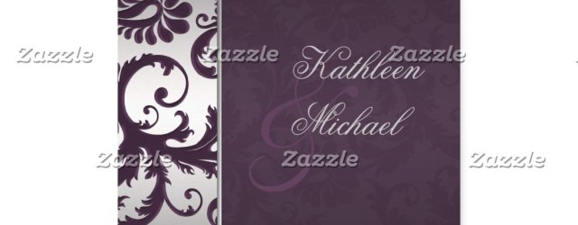 Damask Wedding Invitations Lapis Purple And Silver Damask Wedding Invitation Silver Wedding