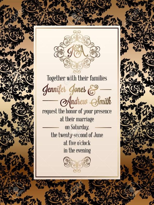Damask Wedding Invitations Vintage Baroque Style Wedding Invitation Card Template Elegant