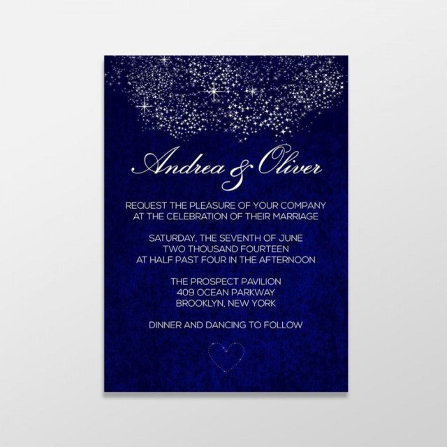 Digital Wedding Invitations Custom Personalized Digital Wedding Invitation Formal Royal Blue
