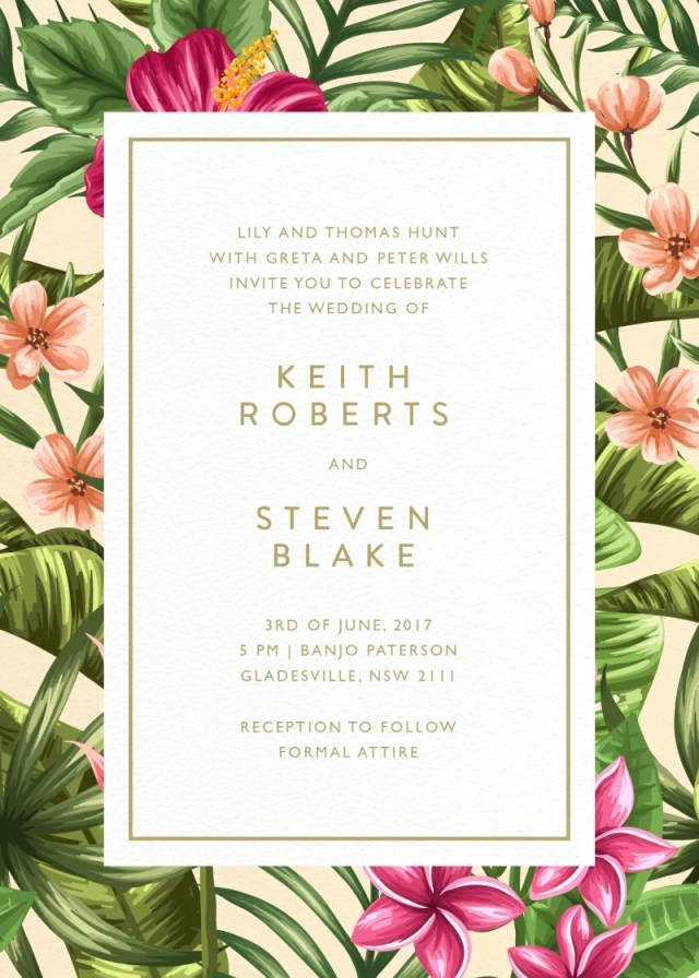 Digital Wedding Invitations Sweet Tropical Digital Printing Wedding Invitations