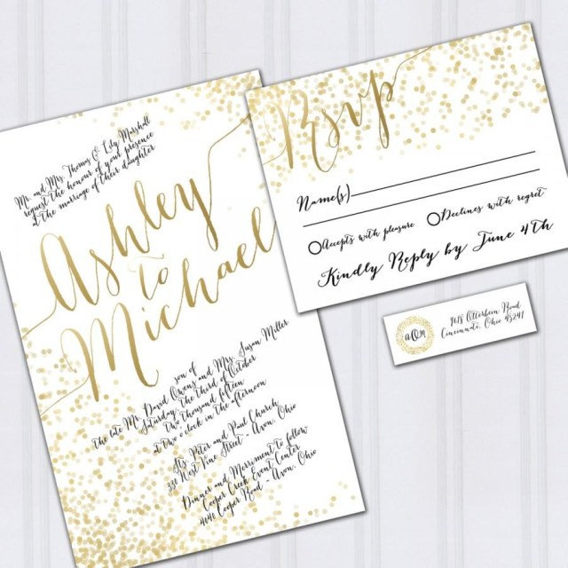 Discounted Wedding Invitations Gold Foil Look Wedding Invitations Confetti Invites Metallic Look