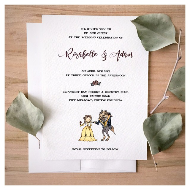 Disney Wedding Invitations Enchanted Wedding Invitation Set Beauty And The Beast Wedding