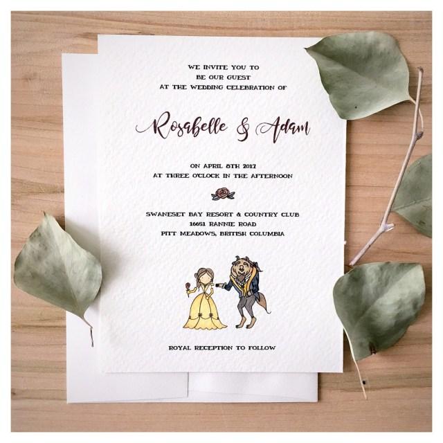 Disney Wedding Invitations Enchanted Wedding Invitation Set Beauty And The Beast Wedding