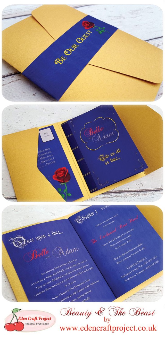 Disneyland Wedding Invitations The Disney Inspired Beauty And The Beast Pocketfold Wedding