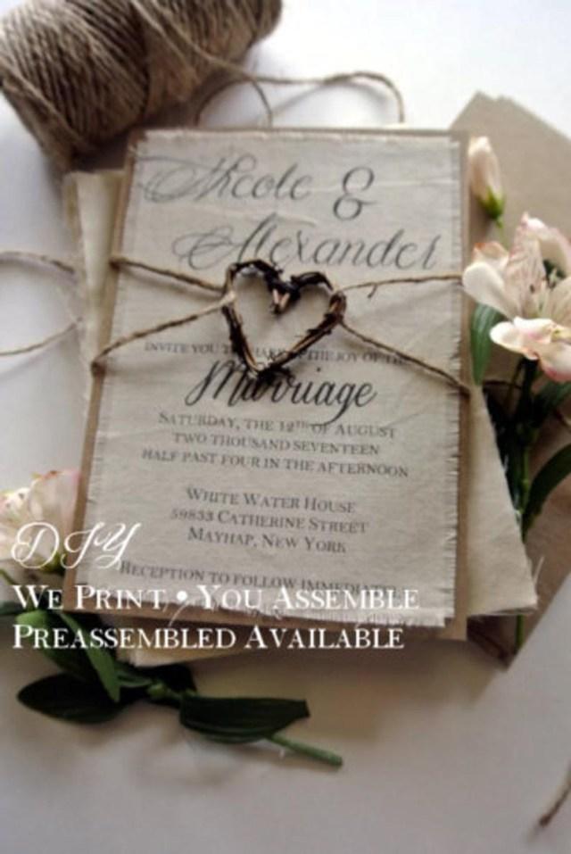 Diy Rustic Wedding Diy Rustic Wedding Invitation Etsy
