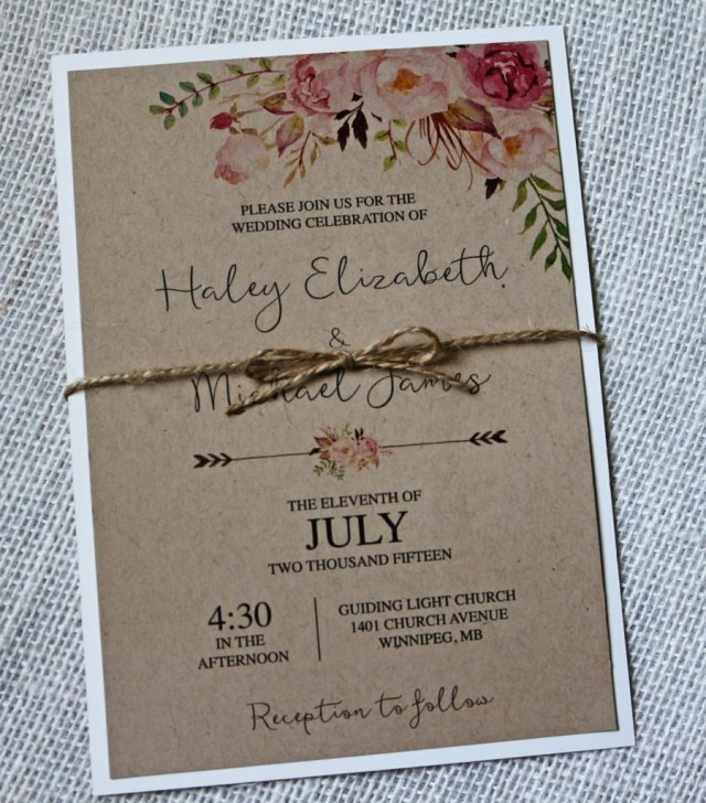 Diy Wedding Invitations Kits Kraft Wedding Invitation Rustic Wedding Invitation Floral