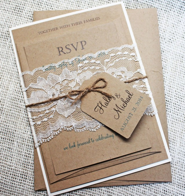 Diy Wedding Invitations Kits Rustic Lace Wedding Invitation Lace Wedding Invite Country Wedding