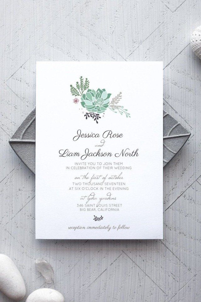 Diy Wedding Invitations Templates Printable Rustic Wedding Invitation Template Succulent