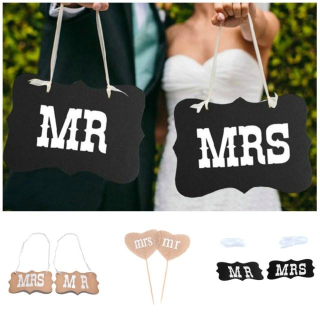 Diy Wedding Photobooth 1set Diy Black Mr Mrs Paper Boardribbon Sign Photo Booth Props