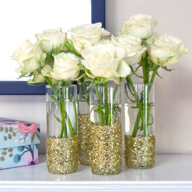 Diy Wedding Vases Diy Glitter Shot Glass Vases Popsugar Smart Living