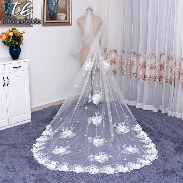 Diy Wedding Veil 3 Meter Cathedral Length 3d Flowers Wedding Veils Face Cover Bridal