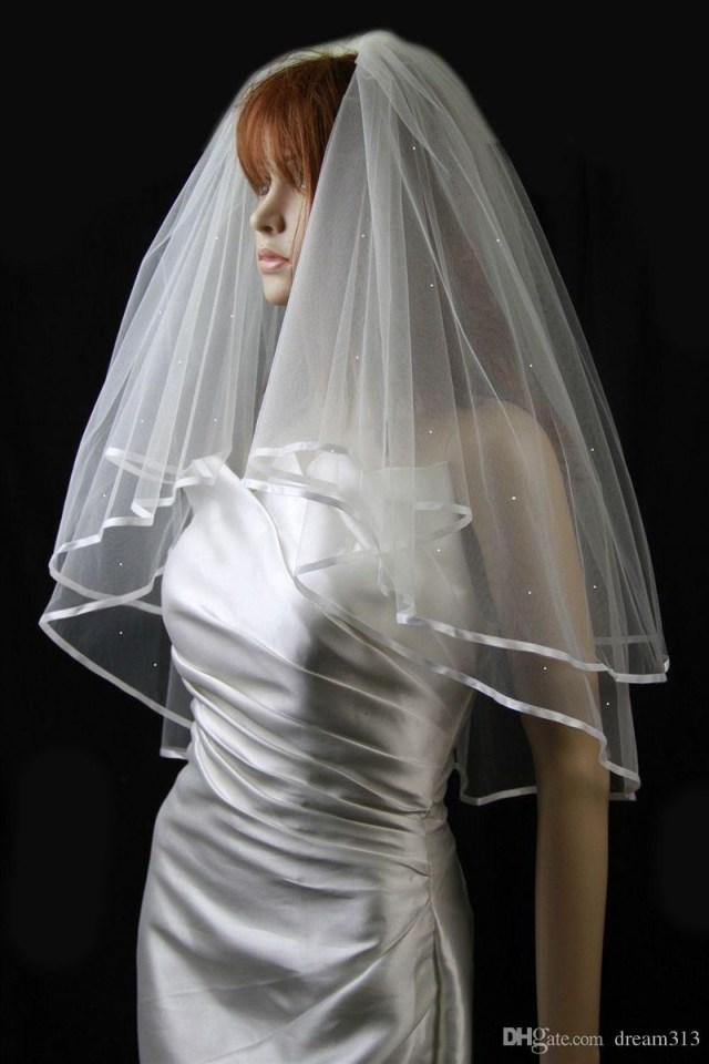Diy Wedding Veil New Best Selling Simple High Quality Two Layers Line Edge Elbow