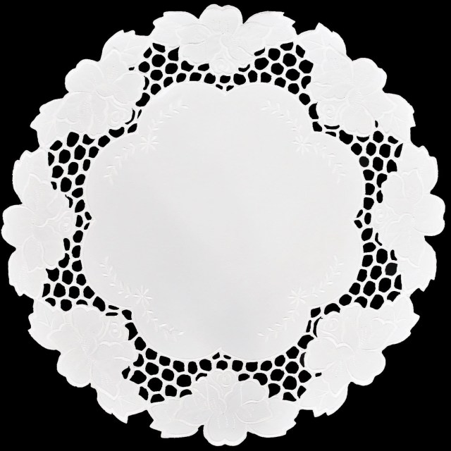 Doilie Wedding Decor Embroidered Place Mat Doily Wedding Decor White Lily On White Fabric