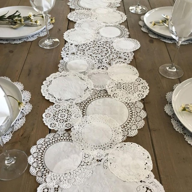 Doilie Wedding Decor Prettie Table Runner Shab Rustic Paper Doilies Diy Weddings