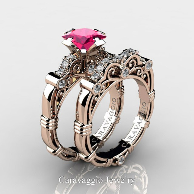 Engagement And Wedding Art Masters Caravaggio 14k Rose Gold 125 Ct Princess Pink Sapphire
