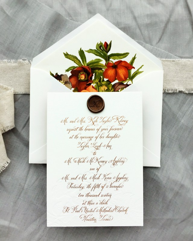 Fall Wedding Invitation Autumn Floral Copper Foil Wedding Invitations