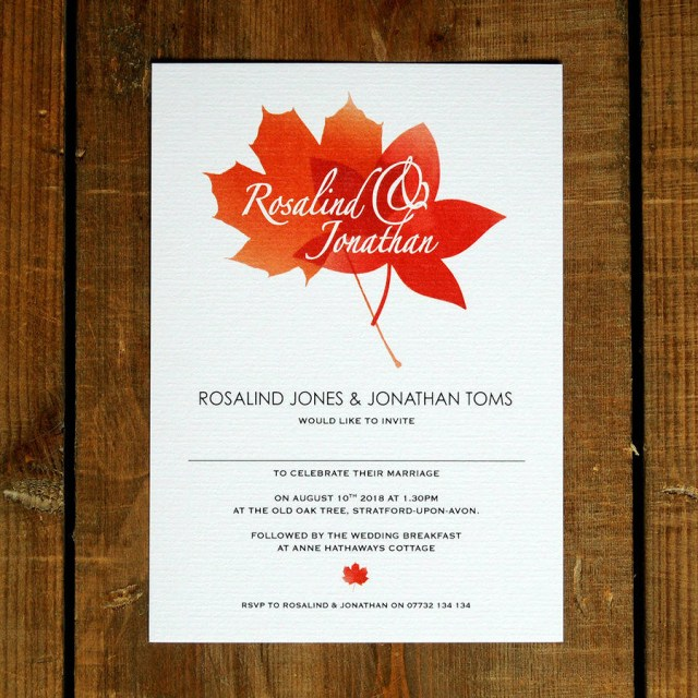 Fall Wedding Invitation Autumn Leaves Wedding Invitations And Save The Date Feel Good