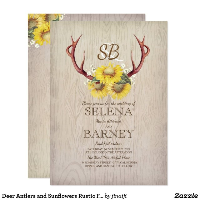 Fall Wedding Invitation Deer Antlers And Sunflowers Rustic Fall Wedding Invitation Ash