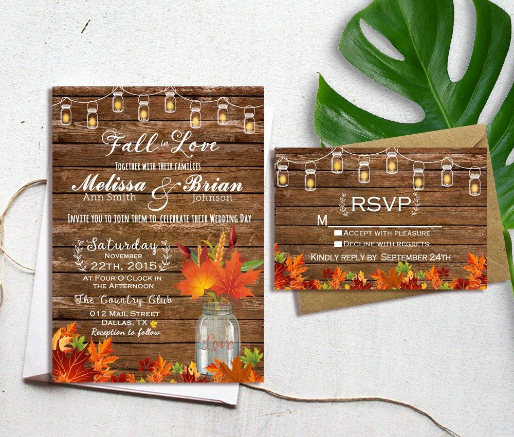 Fall Wedding Invitation Fall Wedding Invitation Autumn Wedding Invitation Fall In Etsy