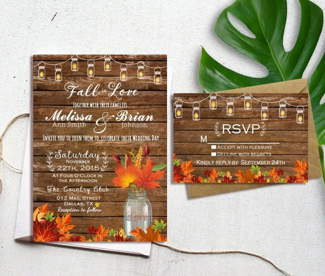 Fall Wedding Invitation Fall Wedding Invitation Autumn Wedding Invitation Fall In Etsy